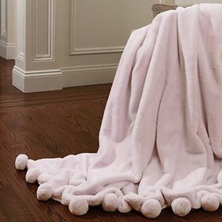 Aurora Home Luxe Faux Fur Pom Throw Blanket