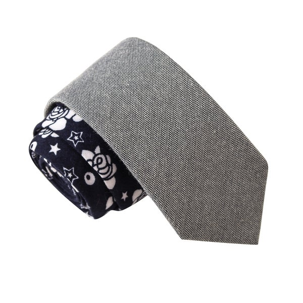 Skinny Tie Madness Men's Idaho Search Party Grey Floral Print Solid Bias Tie