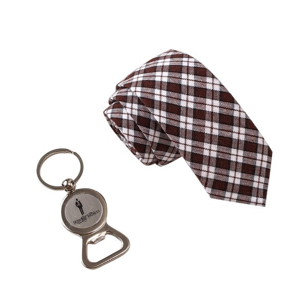 Skinny Tie Madness Men's Manberry brown Plaid Tie with Bottle Opener