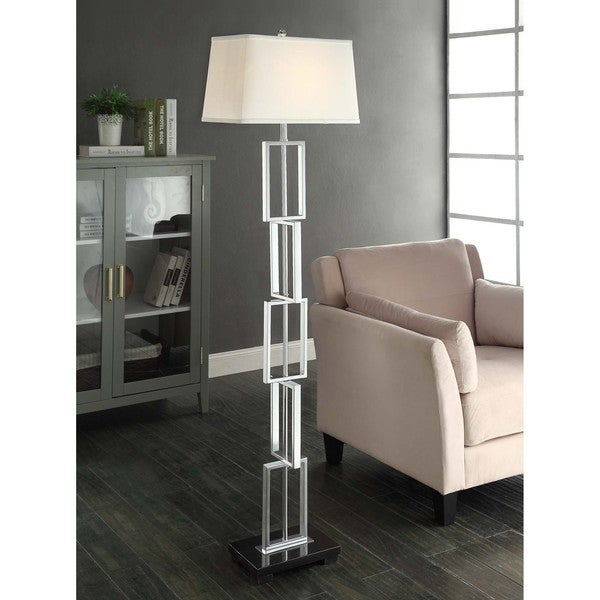 Links Polished Chrome and Marble Floor Lamp