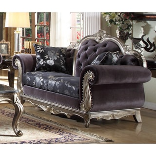 Meridian Roma Antique Silvertone and Dark Grey Velvet Loveseat with Reversible Cushions