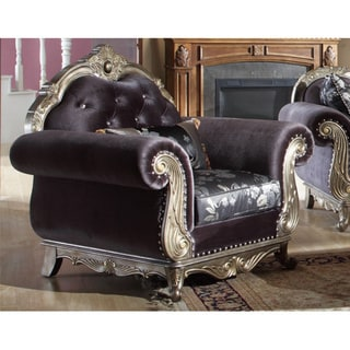 Meridian Antiqued Silvertone and Dark Grey Fabric Roma Chair