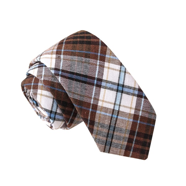 Skinny Tie Madness Men's Boner Correction Facility Brown Plaid Plaid Tie