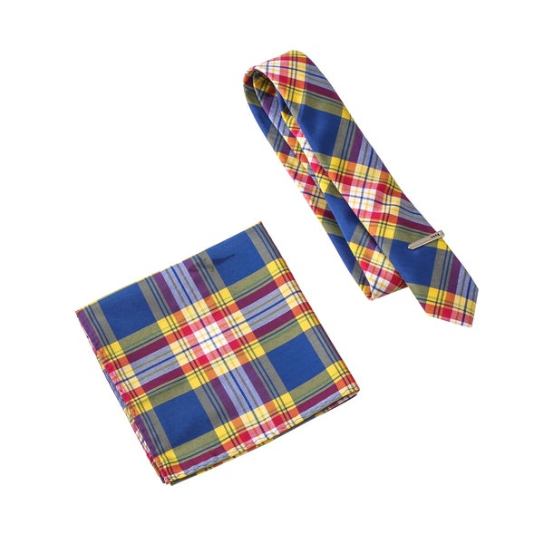 Skinny Tie Madness Men's V-Sauce Blue Plaid Tie with Pocket Square and tie clip