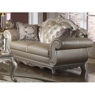 Meridian Pearl White Marquee Loveseat with Reversible Crystal-tufted Cushion