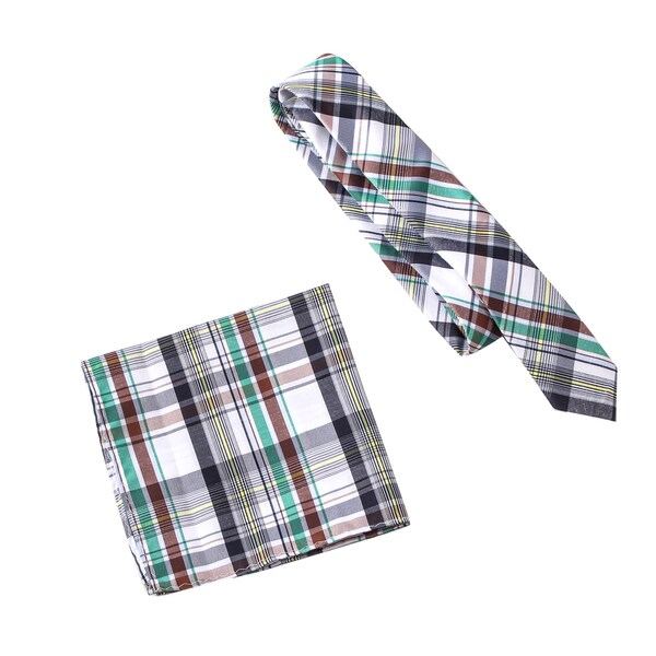 """Skinny Tie Madness Men's Jake """"The Cake"""" Roberts Grey Plaid Tie with Pocket Square"""