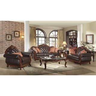 Meridian Bellini Leather Living Room Set with Reversible Cushions