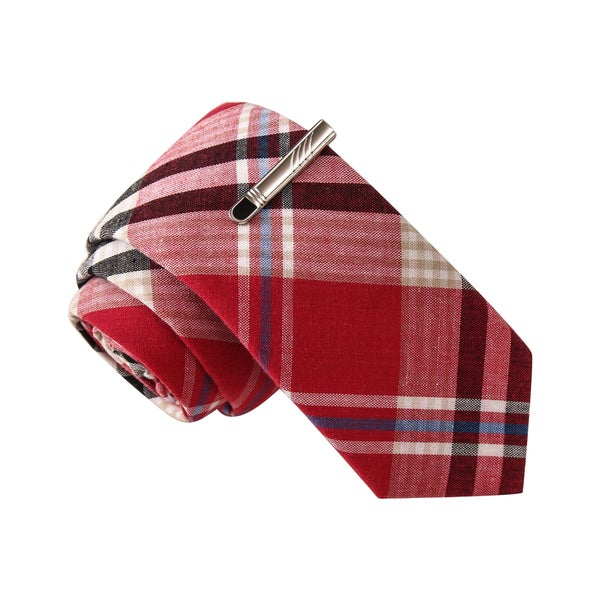 Skinny Tie Madness Men's Off The Rails Red Plaid Tie with Tie Clip
