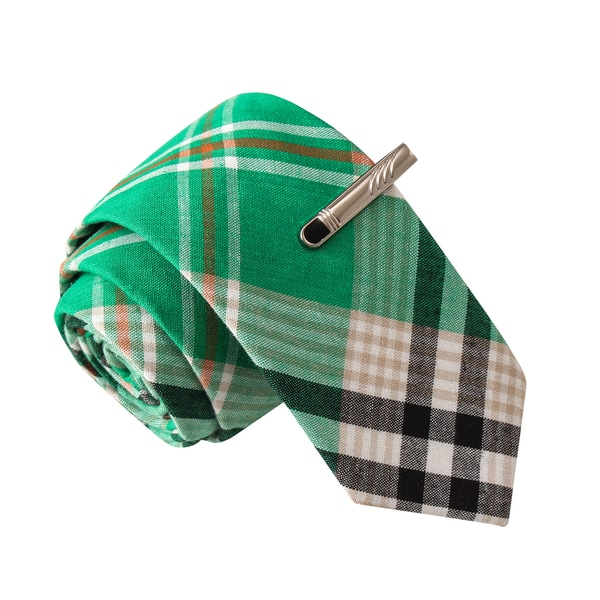 Skinny Tie Madness Men's The Professor Green Plaid Tie with Tie Clip