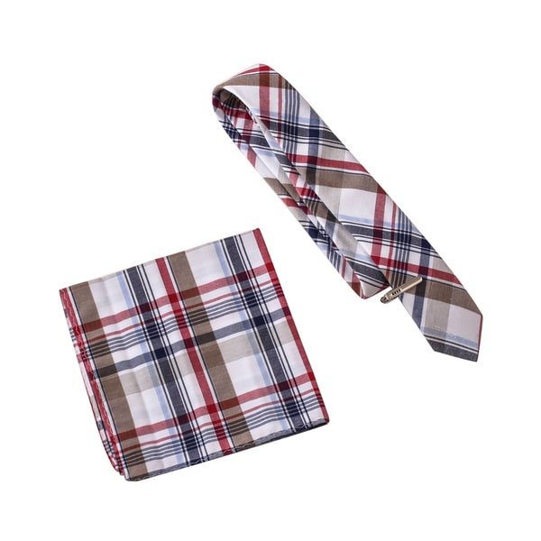 Skinny Tie Madness Men's Mint Julep Multi Color Plaid Tie Clip and Pocket Square