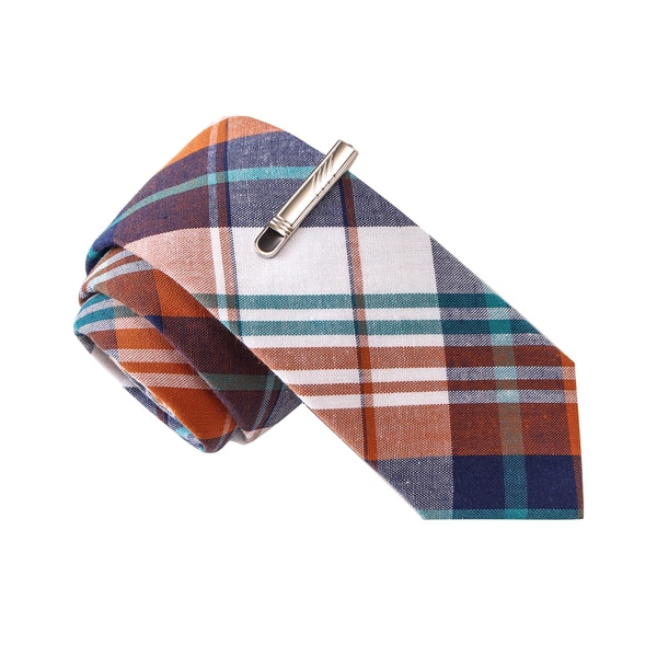 Skinny Tie Madness Men's The Good Doctor Orange Plaid Tie with Tie Clip