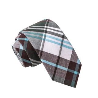 Skinny Tie Madness Men's Major Tom Blue Plaid Tie