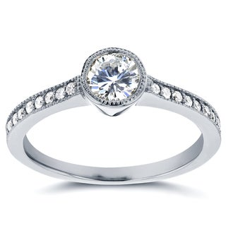 Annello 14k White Gold 3/4ct TDW Bezel Diamond Milgrain Engagement Ring (H-I, I1-I2)