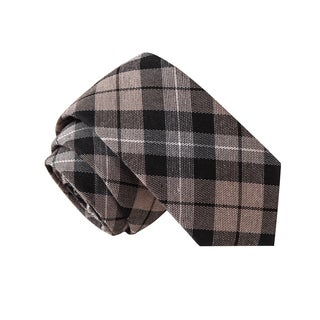 Skinny Tie Madness Men's Hard Knockers Life Grey Plaid Tie
