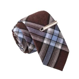 Skinny Tie Madness Men's Shot Glass Shot Put Brown Plaid Tie with Tie Clip
