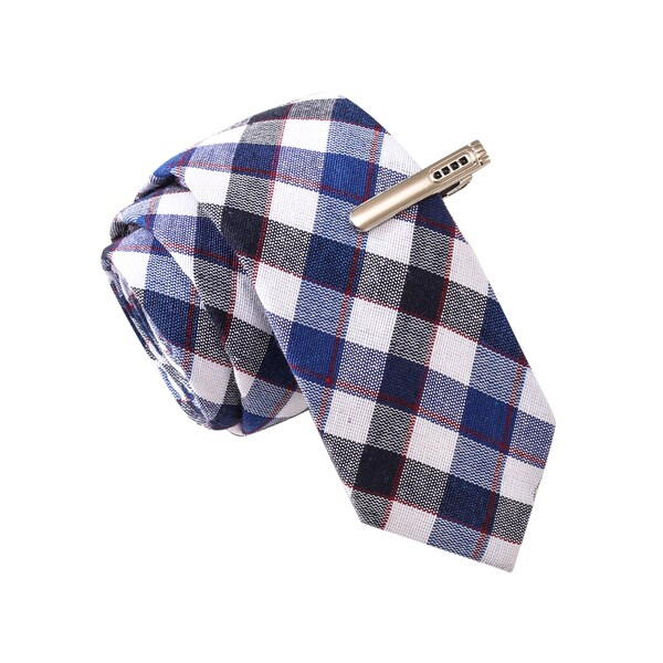 Skinny Tie Madness Men's Moonshine Blue Plaid Tie with Tie Clip