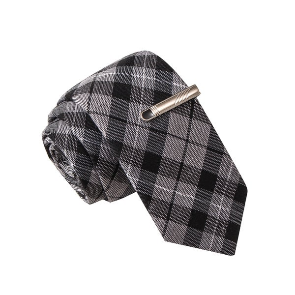 Skinny Tie Madness Men's Crash Test Smarty Grey Plaid Tie with Tie Clip