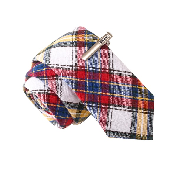 Skinny Tie Madness Men's Recycled Briefs red Plaid Tie with Tie Clip