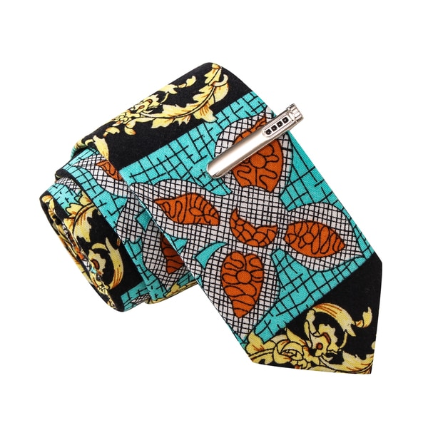 Skinny Tie Madness Men's Saucy Sara Multi Novelty Print Novelty Tie with Clip