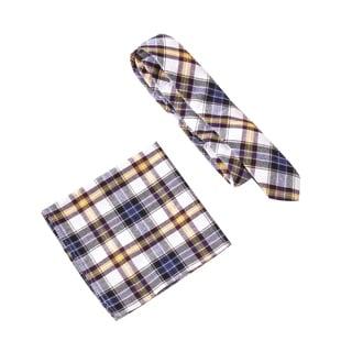 Skinny Tie Madness Men's Maximus Minus Blue Plaid Tie with Pocket Square