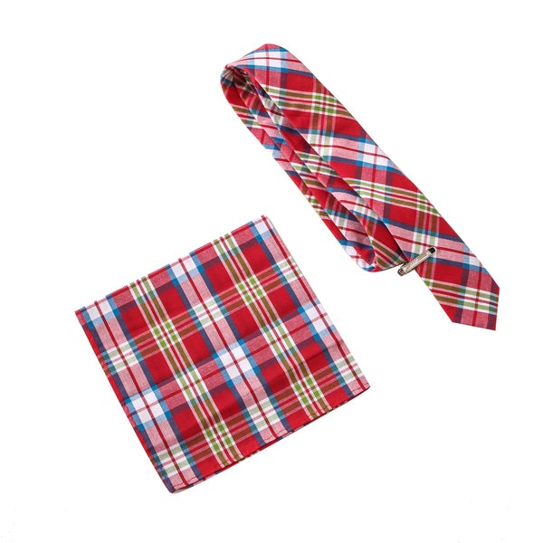 Skinny Tie Madness Men's Will Smith Doesn't Curse Red Tie Pocket Square Clip