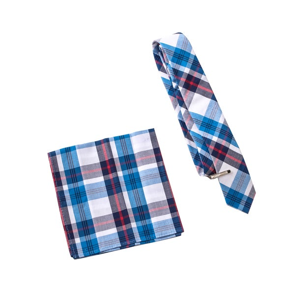 Skinny Tie Madness Men's Jay Leno's Chin Blue Plaid Tie with Clip Pocket Square