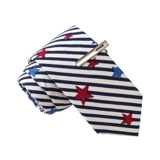 Skinny Tie Madness Men's Pirate's Booty Call White Novelty Print Tie with Clip