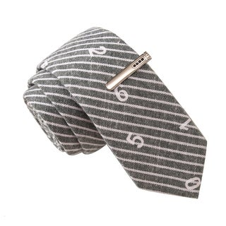 Skinny Tie Madness Men's Keyzer Soze Grey Novelty Printed Tie with Tie Clip