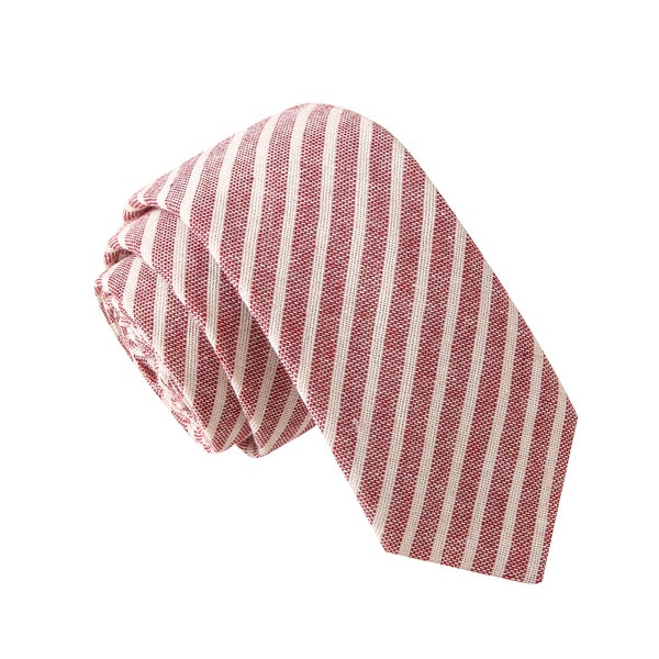 Skinny Tie Madness Men's Hillary Clint Eastwood Red Stripe Striped Chambray Tie