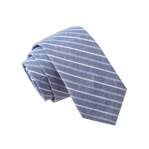 Skinny Tie Madness Men's Big Ben's Motorcycle Blue Stripe Striped Chambray Tie
