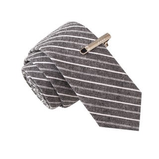 Skinny Tie Madness Men's Ball and Change Grey Striped Chambray Tie with Tie Clip