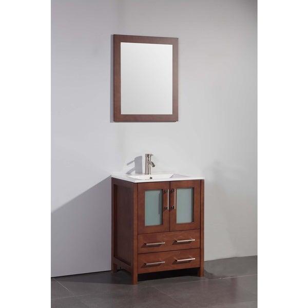 Vanity Art Cherry 24-inch Single Sink Bathroom Vanity with Matching Mirror