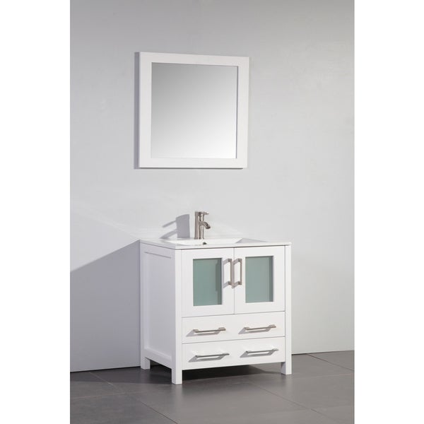 Vanity Art White 30-inch Single Sink Bathroom Vanity with Matching Mirror