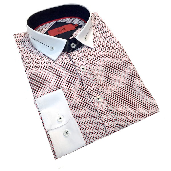 Elie Balleh Men's Milano Italy Black and Red Print Slim Fit Shirt Size XXXL (As Is Item)