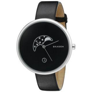 Skagen Women's SKW2372 'Gitte' Moon Phase Black Leather Watch