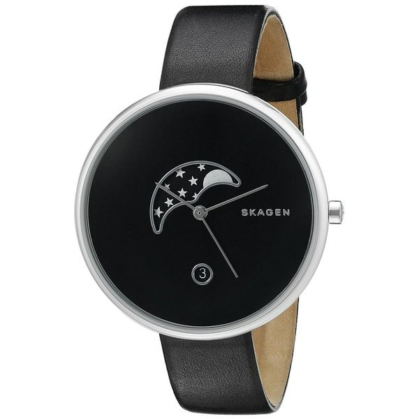 Skagen Women's SKW2372 'Gitte' Moon Phase Black Leather Watch