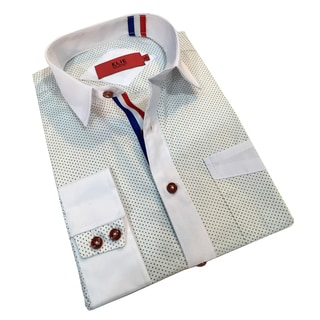 Elie Balleh Men's Milano Italy White Dot Slim Fit Shirt