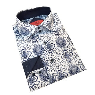 Elie Balleh Men's Milano Italy Blue and White Slim Fit Shirt