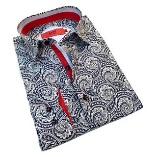 Elie Balleh Men's Milano Italy Black and White Paisley Slim Fit Shirt