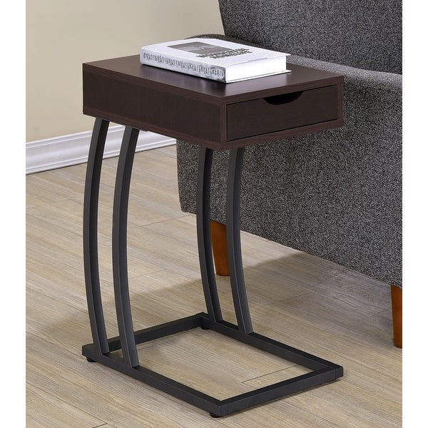 Cappuccino Storage Drawer Snack Accent Table with Power Strip