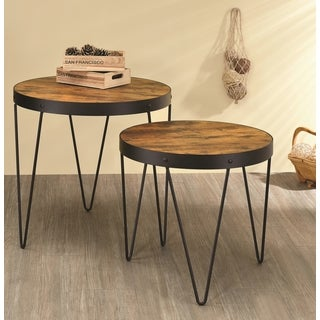 Kasreal Round Honey Cherry 2-piece Nesting Table Set