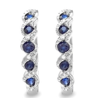 Sterling Silver 7/8ct TDW Round Diamond and Blue Sapphire Hoop Earrings (H-I, I1-I2)