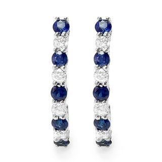 10k White Gold 1/2ct TDW Round Diamond and Blue Sapphire J-shaped Hoop Earrings (H-I, I1-I2)