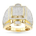 Luxurman 10k Gold Men's 1 3/4ct TDW Diamond Round Pave-set Diamond Ring (H-I, I1-I2)