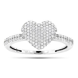 Luxurman 14k Gold 3/8ct TDW Diamond Heart Ring (H-I, SI1-SI2)
