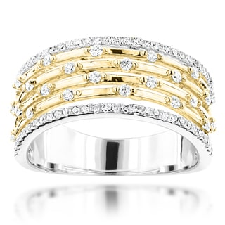 Luxurman 14k Gold 1/2ct TDW Diamond Designer Wedding Band (G-H, SI1-SI2)