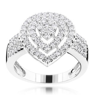 Luxurman 10k Gold 1 1/10ct TDW Diamond Fashion Ring (G-H, VS1-VS2)