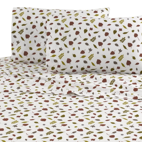 Vellux Fallen Leaves Flannel Sheet Set