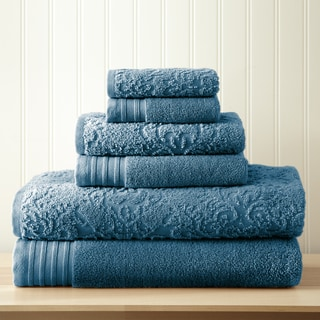 6-Piece Jacquard/Solid Boho Towel Set