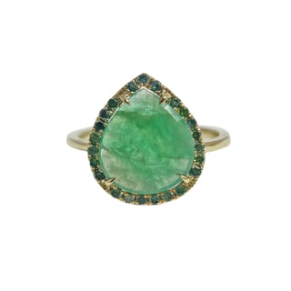 14k Yellow Gold Emerald and 1/3ct TDW Diamond Pear Ring